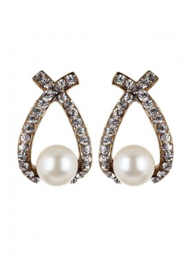 Fayon Daily Casual Work Pearl and Rhinestone Stud Earrings