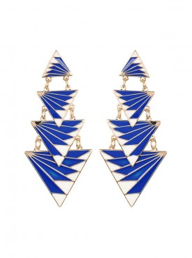 Fayon Chic Stylish Blue White Multilayer Triangle Dangler Earrings