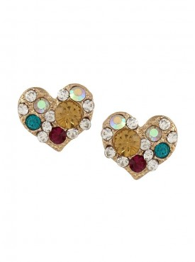Fayon Fashion Statement One Heart One Square Shape Stud Earrings