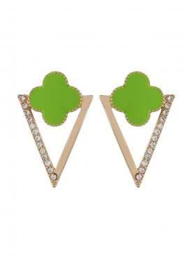 Fayon Funky Fashion Neon Green Flower with Triangle Stud Earrings