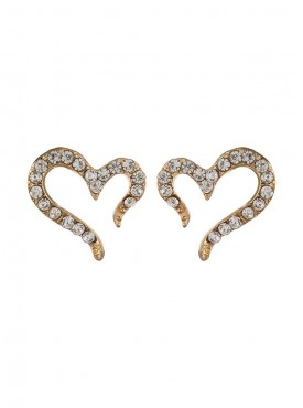 Fayon Designer Modern Rhinestone Hearts Stud Earrings