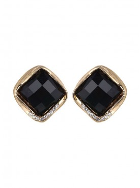 Fayon Party Style Diva Black Square Rhinestone Stud Earrings