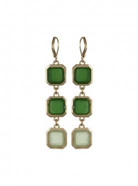 Fayon Contemporary Statement Green Square Clip On Earring