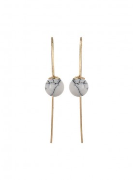Fayon Daily Casual Work Turquoise Long Ball Drop Earrings