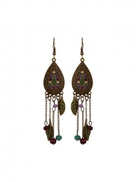 Fayon Fabulous Statement Green Leaf And Beads Jhumki Earrings