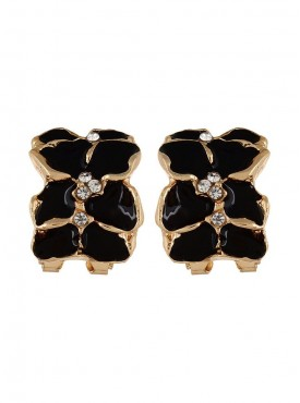 Fayon Weekend Casual Charming Black Flowers Clip-On Earrings