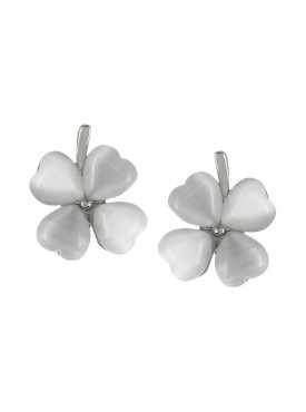 Fayon Weekend Party Charming White Crystal Flower Stud Earrings