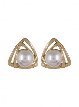 Fayon Designer Modern Golden Triangle With Pearl Stud Earrings