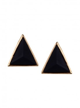 Fayon Daily Casual Work Black Triangle Stud Earrings