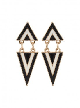 Fayon Chic Stylish Black n White Opposite Triangles Dangler Earrings