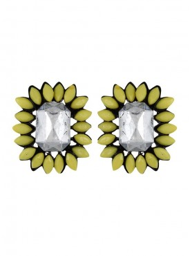 Fayon Party Style Diva Yellow Gemstone Flower Stud Earrings