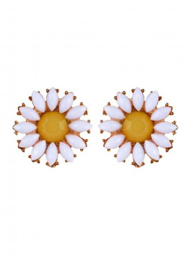 Fayon Chic Stylish Charming Yellow Pearl White Flower Stud Earrings