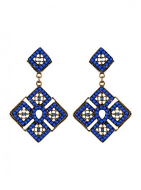 Fayon Fabulous Statement Blue Beads Geometric Chandelier Earrings