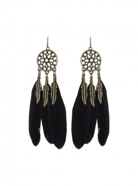 Fayon Fashion Statement Black Vintage Feather Drop Earrings
