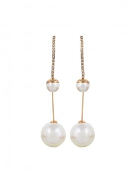 Fayon Fabulous Statement Pearl Drops and Rhinestone Tassel Drop Earrings