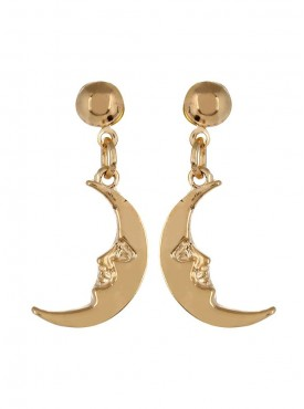 Fayon Party Style Diva Golden Half Moon Face Drop Earring