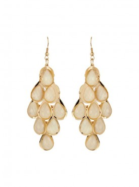 Fayon Weekend Casual Work White Crystal Drop Dangler Earring