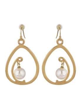 Fayon Party Style Diva Golden White Pearl Drop Earring