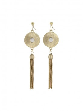 Fayon Trendy Costume Golden Circle With Tassels Dangler Earrings