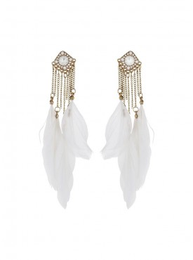 Fayon Party Style Diva White Feather With Chains Drop Earrings