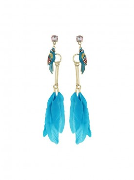 Fayon Party Style Diva Turquoise Feather With Parrot Dangler Earrings