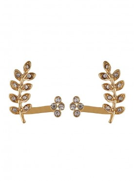 Fayon Contemporary Statement Golden Tiny Leaves Rhinestone Flower Stud Earrings For Single Ear