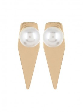 Fayon Fabulous Statement Golden Triangle With Pearl Stud Earrings