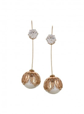 Fayon Party Style Diva Golden Pearl And Crystal Ball Long Earring