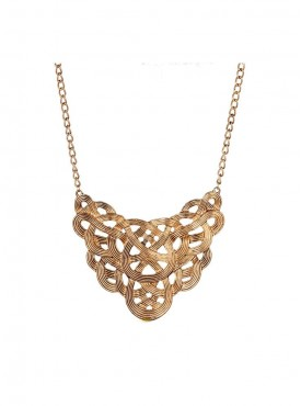 Fayon Chunky Fashion Bright Gold Intertwining Charm Necklace