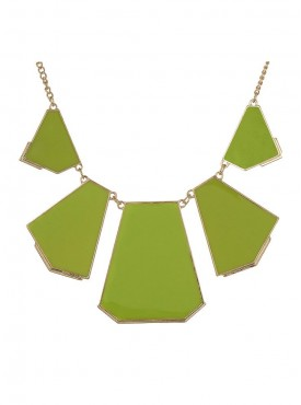 Fayon Chic Stylish Green Enamel Block Lump Lariat Necklace
