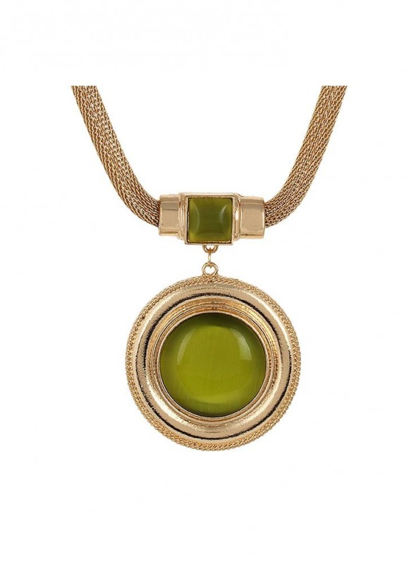 Fayon Daily Casual Work Green Stone Pendant Necklace