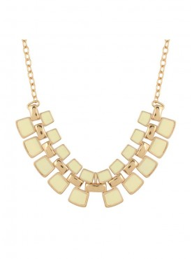 Fayon Fashion Statement Square Shaped Cream Stones Chain Necklace
