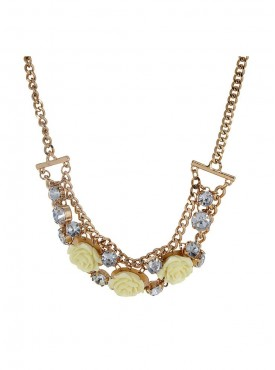 Fayon Weekend Casual Cream Rose Flower Diamond Charm Necklace