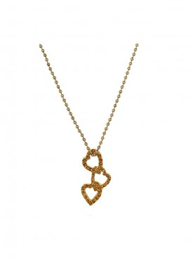 Fayon Daily Casual Work Gold Colour Beaded Lovely Hearts Pendant Necklace