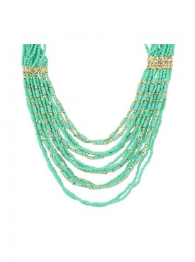 Fayon Trendy Costume Multilayer Green Beads Chain Crew Necklace