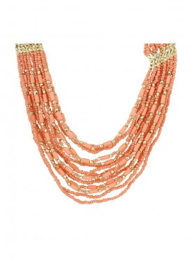 Fayon Chunky Fashion Multilayer Pink Bead Chian Crew Necklace