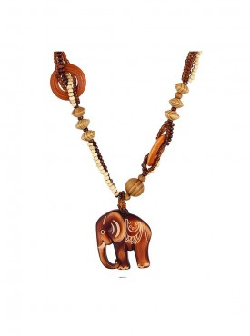 Fayon Trendy Costume Wood Elephant Beads Rope Chains Bohemian Necklace