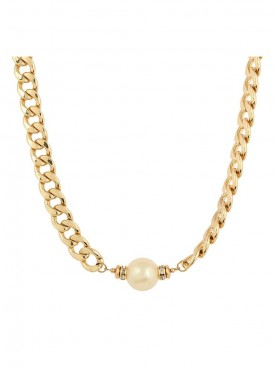 Fayon Fashion Statement Gold Chain With Imitation Pearl Pendant Necklace