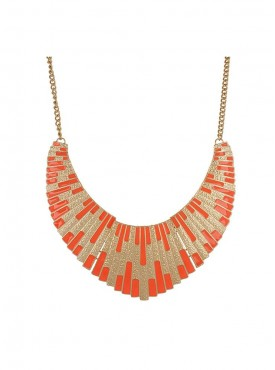 Fayon Party Style Diva Orange Golden Bib Necklace