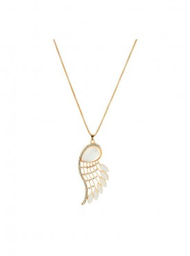 Fayon Fashion Statement White Stone Angle Wing Pendant Necklace
