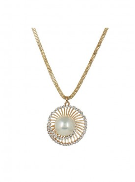 Fayon Fabulous Statement White Pearl Gold Chain Pendant Necklace