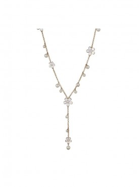 Fayon Daily Casual Work Spring Flowers and Pearl Charms Long Necklace