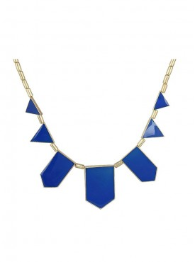 Fayon Weekend Party Blue Geometric Enamel Collar Necklace