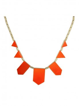 Fayon Designer Modern Orange Geometric Collar Necklace