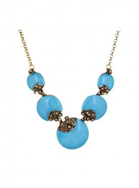 Fayon Fabulous Statement Antique Gold and Blue Bohemian Beads Charm Necklace