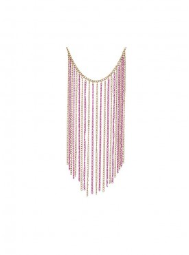 Fayon Contemporary Statement Golden And Neon Pink Tassel Charm Necklace