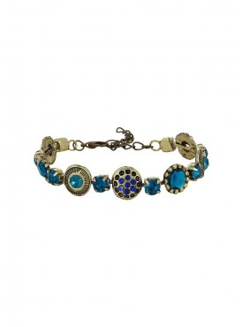 Fayon Fabulous Statement Vintage Flowers with Colorful Crystals Adjustable Bracelet