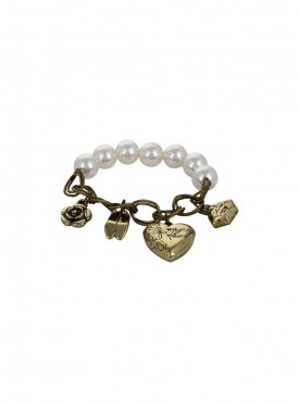 Fayon Weekend Casual Vintage Heart Shoe Charms Pearl Bracelet