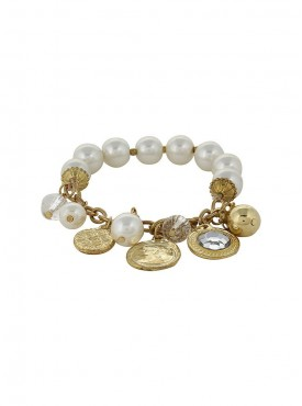 Fayon Trendy Costume Vintage Charms and Pearl Drops Link Bracelet