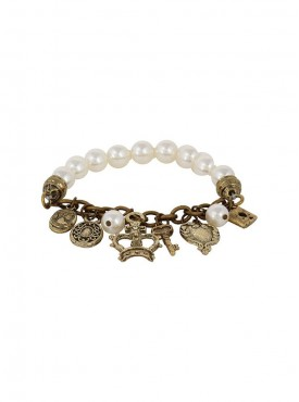 Fayon Funky Fashion Antique Charm Lockets Pearl Bracelet